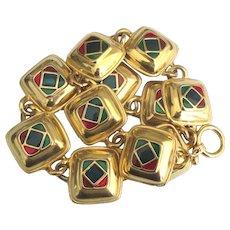 Chunky Colorful Enamel Gold Tone Toggle Necklace