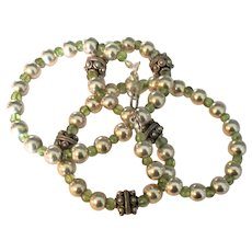 Vintage Sterling Fancy Bead and Peridot Gemstone Necklace- 18 inches