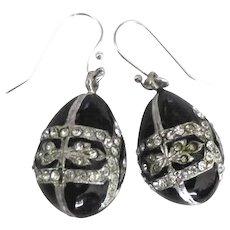 Elegant Enamel Rhinestone Egg Pierced Earrings