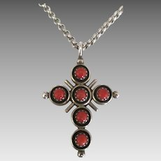 Vintage Sterling Reversible Coral Turquoise Cross with Chain