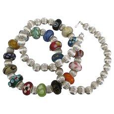 Estate Sterling Italian Murano Glass Bead Necklace- 20 Inches