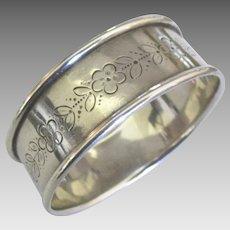 Lovely Vintage Engraved Flowers Sterling Napkin Ring