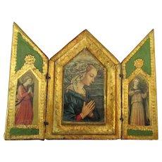 Vintage Italian Florentine Religious Triptych
