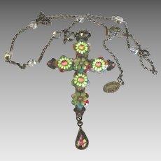 Artistic Michal Negrin Ornate Rhinestone Flowers Cross with Chain