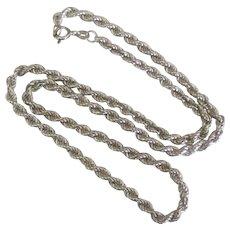 """18"""" Italian Sterling Twisted Rope Chain Necklace"""