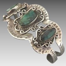 Spectacular Navajo Turquoise Sterling Wide Cuff Bracelet