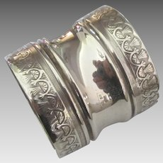 Wide Vintage Sterling Wheat Sheaves Napkin Ring