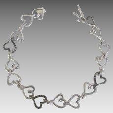 Pretty Sterling Textured Heart Link Bracelet