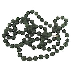 "Vintage Nephrite Jade 14K 9 MM Bead 39"" Knotted Necklace - Red Tag Sale Item"