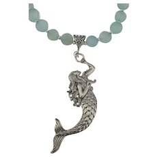 Sterling Mermaid Chalcedony Bead Necklace