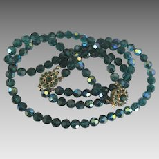 Stunning Vintage Bergere AB Teal Crystal Necklace and Bracelet Demi Parure