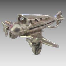 Vintage Mechanical Sterling Propeller Air Plane Charm