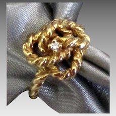 14K Love Knot Diamond Ring- Size 6