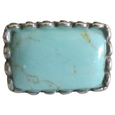 Bold Sterling Turquoise Ring- Size 7 1.2