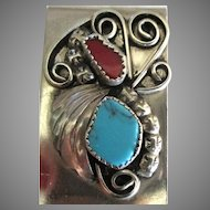 Vintage Sterling Turquoise Coral NA Money Clip