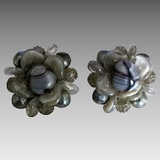 Signed Schiaparelli Givre Art Glass Earrings