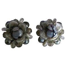 Signed Schiaparelli Givre Art Glass Earrings