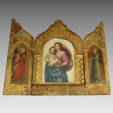 Large Virgin Mary with Angels Florentine Triptych