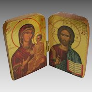 Vintage Small Carved Wooden Russian Religious Icon