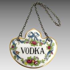 English Porcelain Vodka Liquor Bottle Decanter Tag