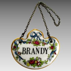 "English Porcelain ""Brandy"" Liquor Bottle Decanter Tag"