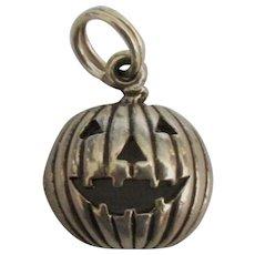 Adorable Sterling Halloween Pumpkin Charm