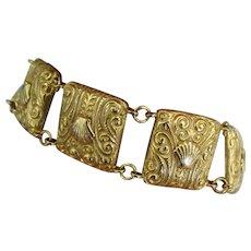 Vintage Thick Gold Plate Shell Link Bracelet