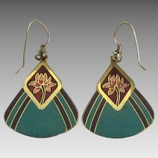 Signed Laurel Burch Turquoise Enamel Floral Pierced Earrings