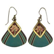 Signed Laurel Burch Turquoise Enamel Floral Pierced Earrings