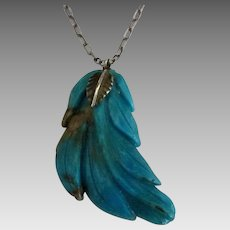 """Vintage Carved Turquoise Leaf with 18"""" Sterling Chain"""