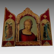 Large Red Florentine Gilt Wooden Religious Triptych