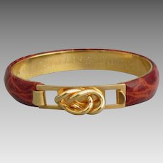 Signed Vintage Italian Leather 24K Plate Hinged Bracelet