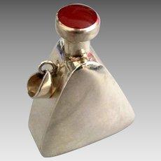 Vintage Sleek Sterling Carnelian Perfume Pendant with Dauber
