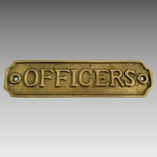 Vintage Brass Officers Sign Plate
