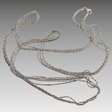 Italian Milor Sterling 3 Brilliant Strand 36 Inch Necklace