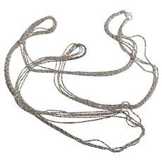 Italian Milor Sterling 3 Brilliant Strand 36 Inch Necklace