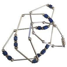 Vintage Sterling Sodalite Necklace