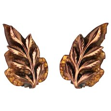 """Matisse Renoir Enamel Copper """"Laurel"""" Earrings"""