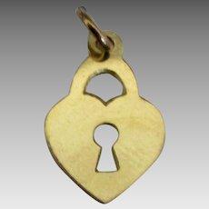 Sweet 14K Heart Lock Charm