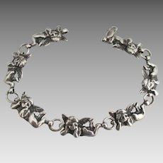 Adorable Sterling Cupid Links Bracelet