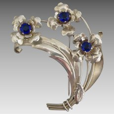 Large Signed Harry Iskin Sterling Brooch with Blue Rhinestones