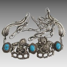 Vintage NA Double Story Teller Sterling Turquoise Necklace