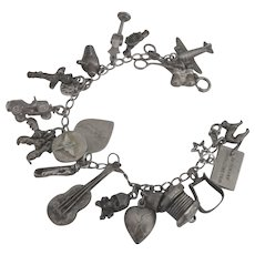 1940's Loaded Sterling Military Theme Charm Bracelet