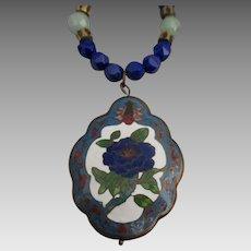 Estate HP Enamel Flower Pendant Necklace