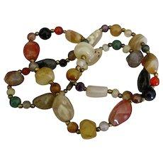 """Vintage Polished Agate Gemstone Necklace- 24"""""""