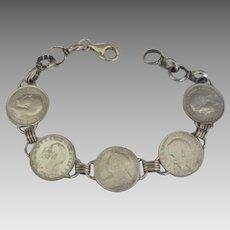 Vintage English Sterling 3 Pence Coin Bracelet
