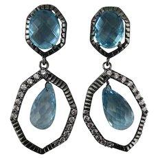 Sterling Blue Crystal Rhinestone Dangle Pierced Earrings