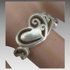 Sweet Sterling Heart Ring- Size 7 1/2