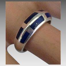 Sleek Inlaid Lapis Sterling Ring- Size 8 1/2