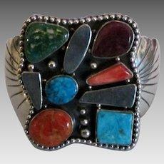 Stunning Bold Estate Signed Sterling Gemstone Bracelet